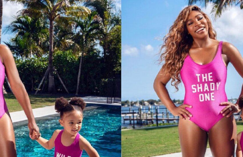 Serena Williams, ședință foto în costum de baie alături de fiica sa, Olympia. La trei ani, fetița este deja o mică fashionistă
